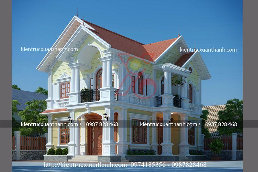mẫu thiết kế biệt thự 2 tầng tân cổ điển đẹp