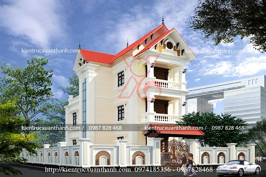 mẫu nhà biệt thự 3 tầng tân cổ điển 7x13m