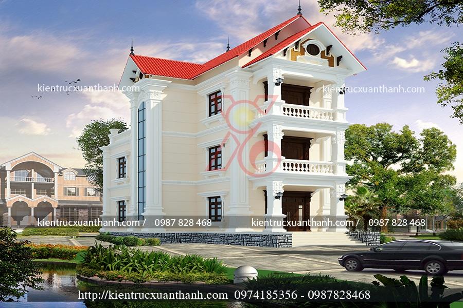 mẫu thiết kế nhà biệt thự 3 tầng tân cổ điển 7x13m