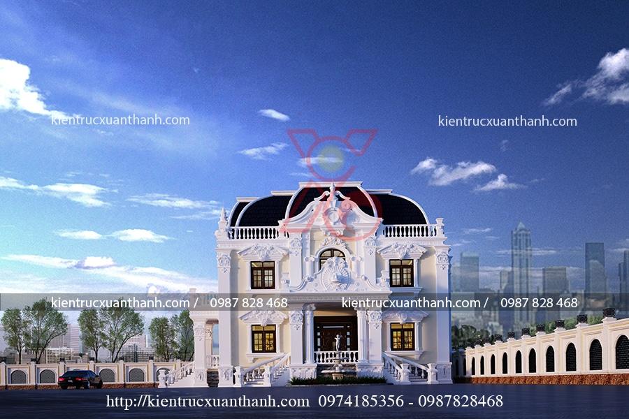 thiết kế biệt thự cổ điển 2 tầng đẹp
