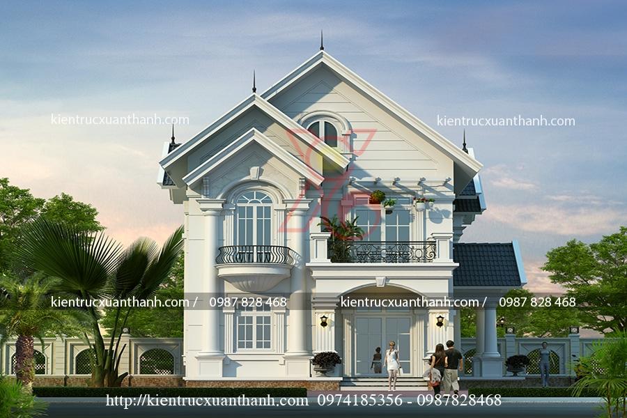 thiết kế biệt thự 2 tầng đẹp tại Hà Nội