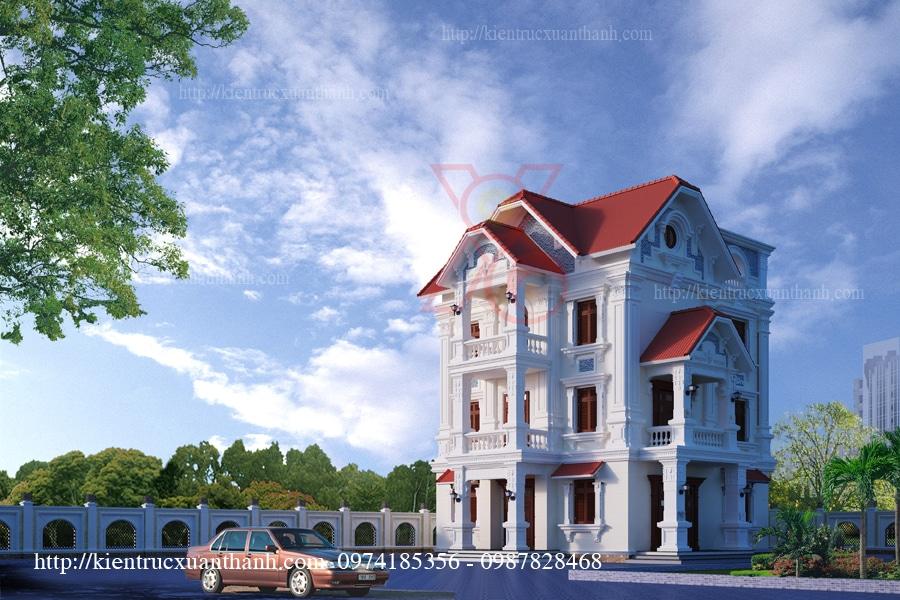 mẫu biệt thự 3 tầng phong cách cổ điển