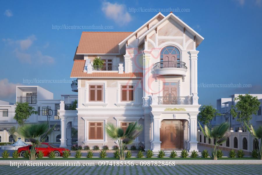 mẫu nhà biệt thự 3 tầng tân cổ điển mặt tiền 12m tại Điện Biên
