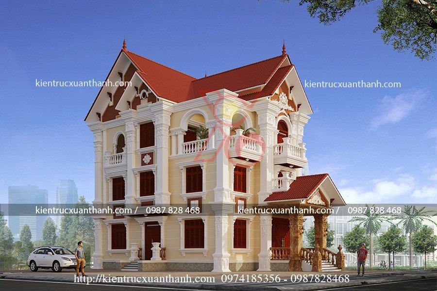mẫu biệt thự 3 tầng cổ điển 9x16.5m
