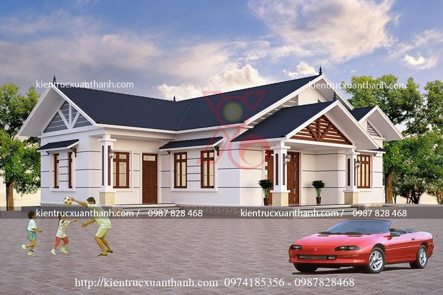 mẫu nhà 1 tầng mái thái của cô Vy - Thái Bình