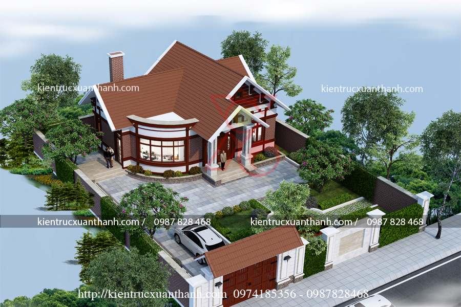 mẫu nhà 1 tầng mái thái nông thôn