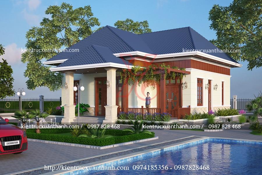 thiết kế nhà cấp 4 mái thái nông thôn
