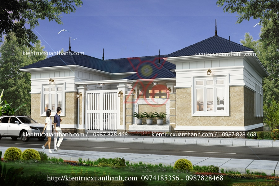 mẫu nhà 1 tầng kiểu Pháp tại Thái Bình