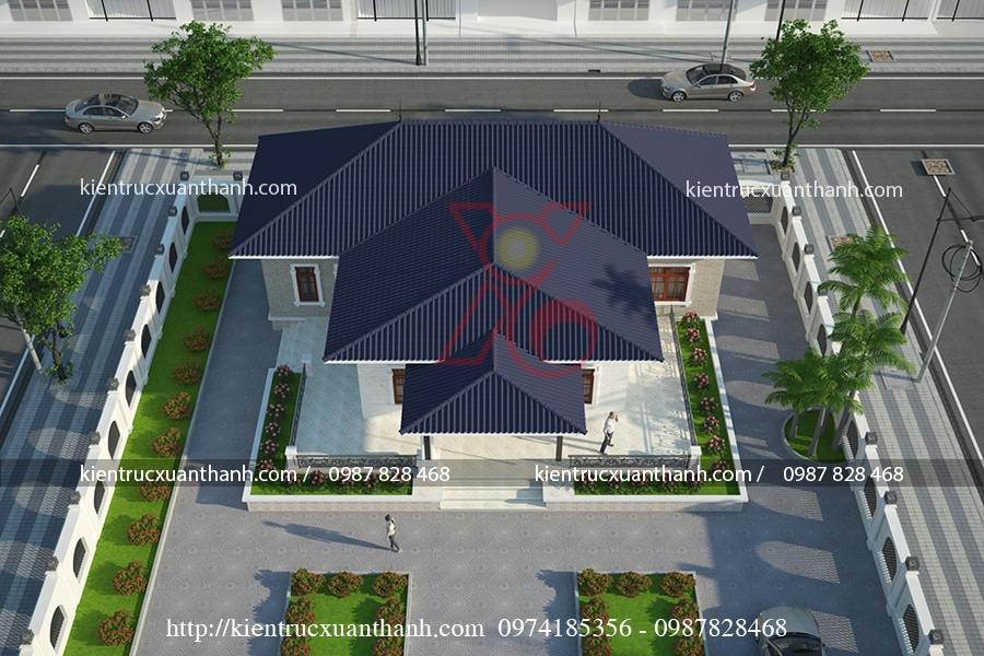 mẫu thiết kế biệt thự 1 tầng mái thái