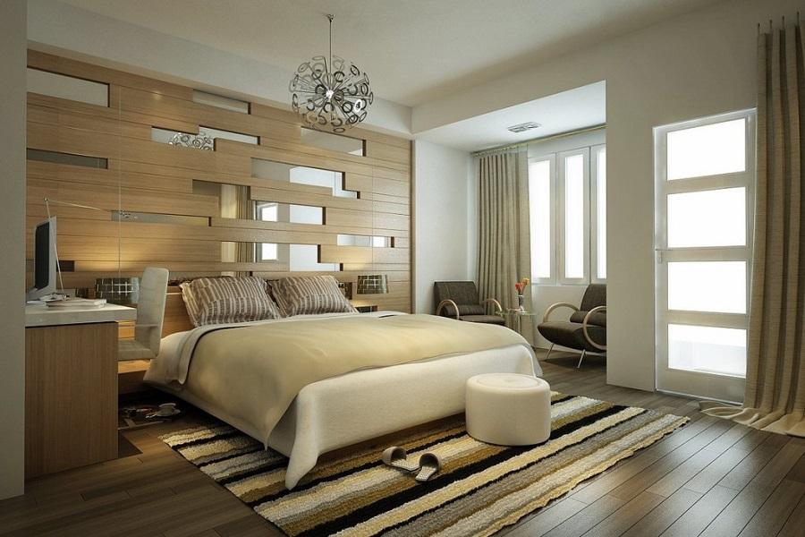 Phòng ngủ chính của mẫu thiết kế biệt thự 1 tầng đẹp