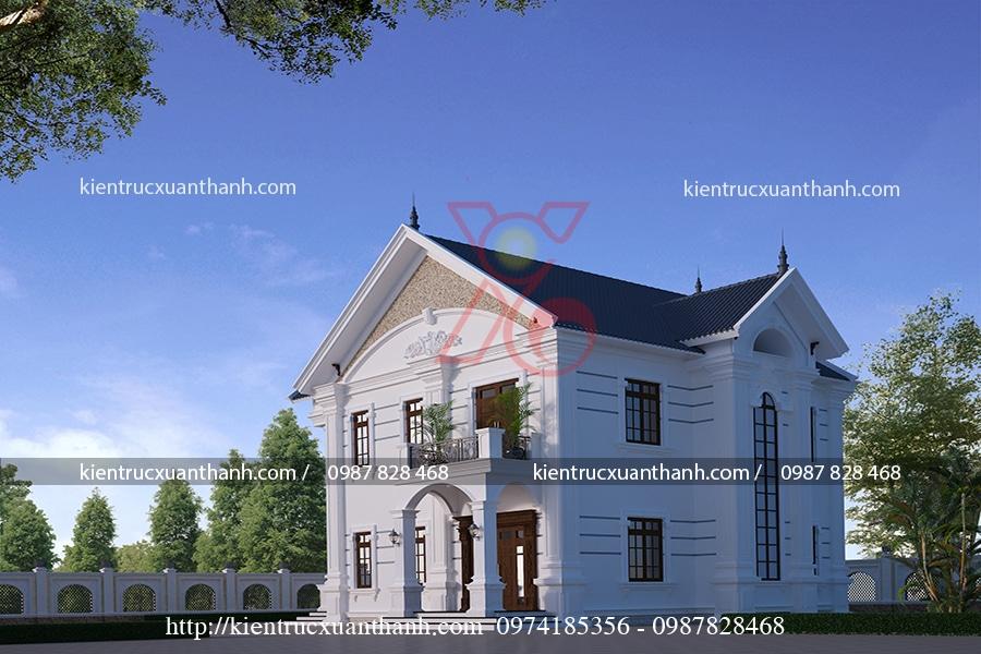 mẫu thiết kế biệt thự 2 tầng kiểu Pháp đẹp