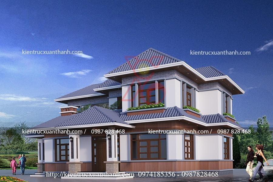 mẫu biệt thự 2 tầng mái thái phong cách làng quê