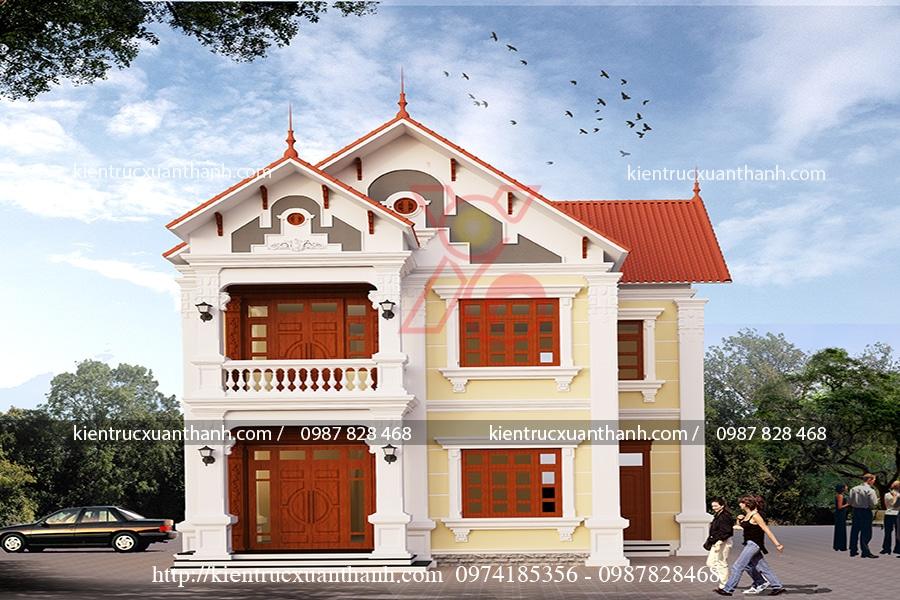 mẫu thiết kế biệt thự 2 tầng mái thái đẹp