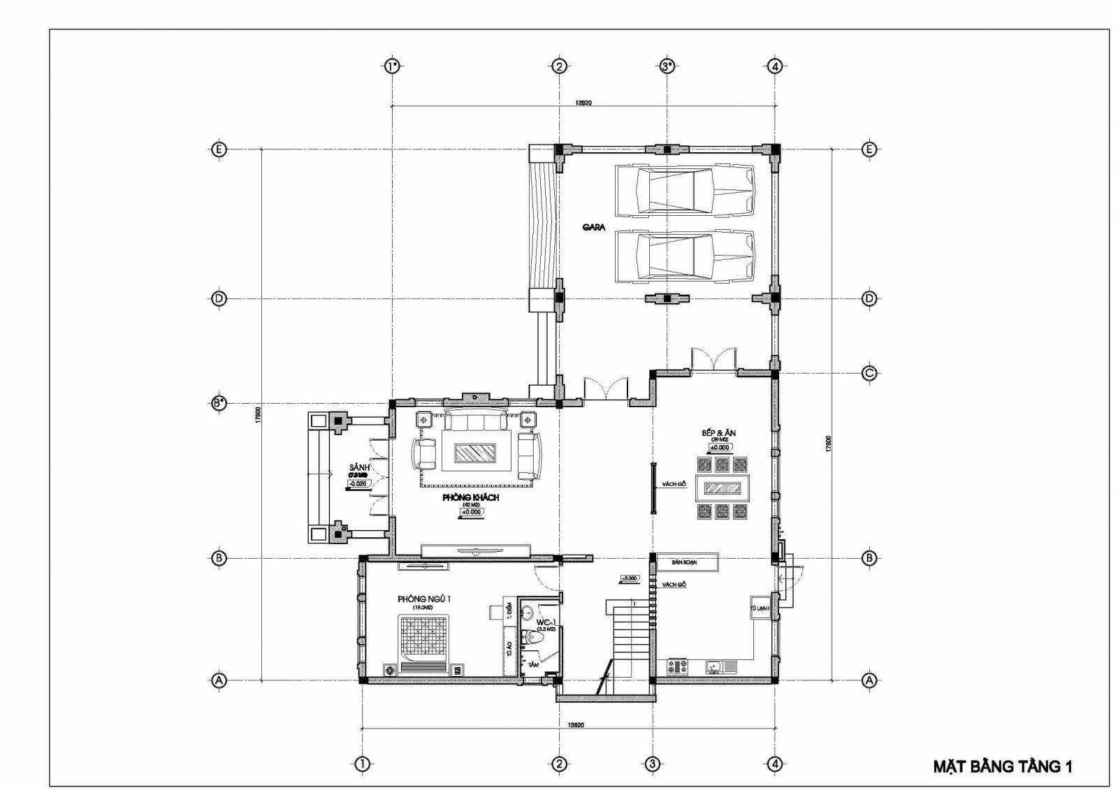 biệt thự 2 tầng đẹp kiểu Pháp - mặt bằng tầng 1