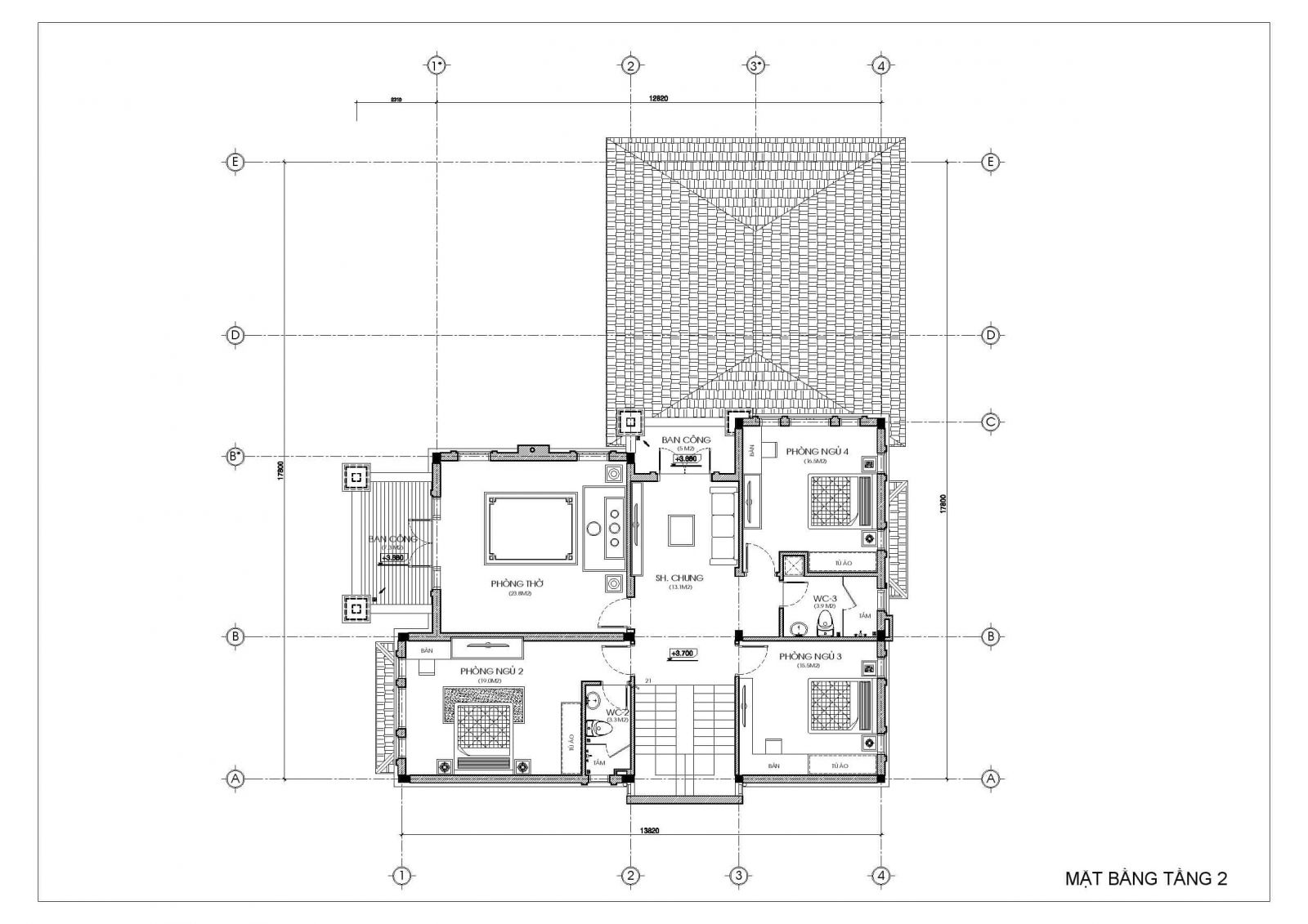 biệt thự 2 tầng đẹp kiểu Pháp - mặt bằng tầng 2