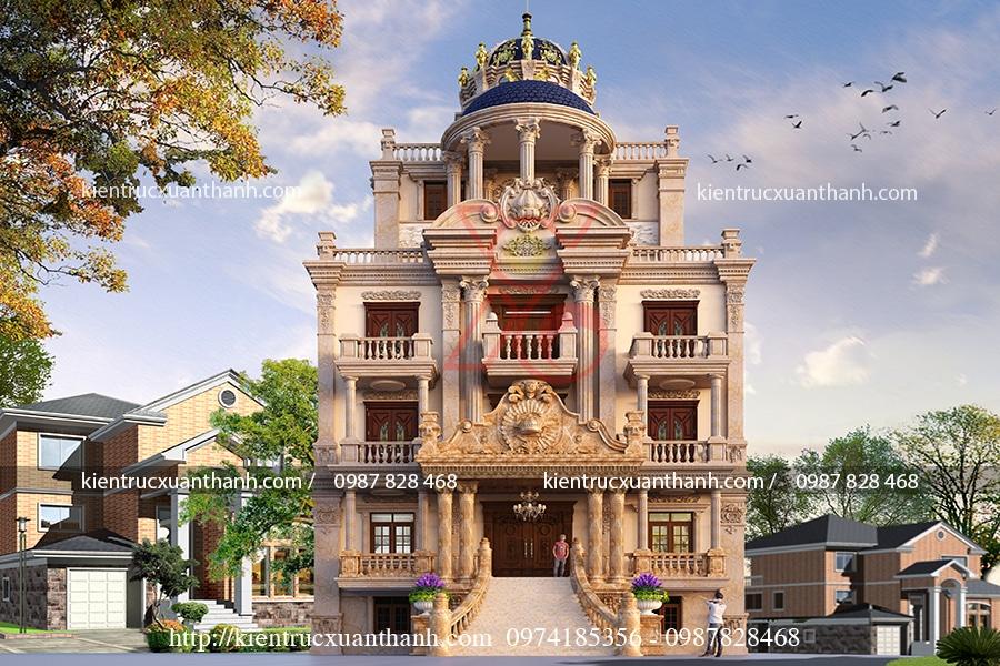 mẫu thiết kế biệt thự cổ điển 13.5x16.5m đẹp