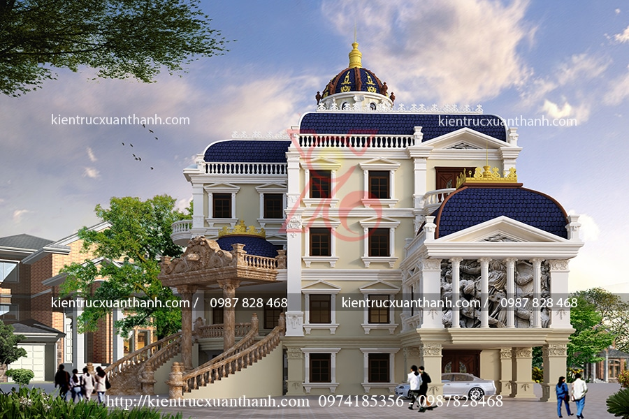 thiết kế biệt thự 4 tầng cổ điển đẹp