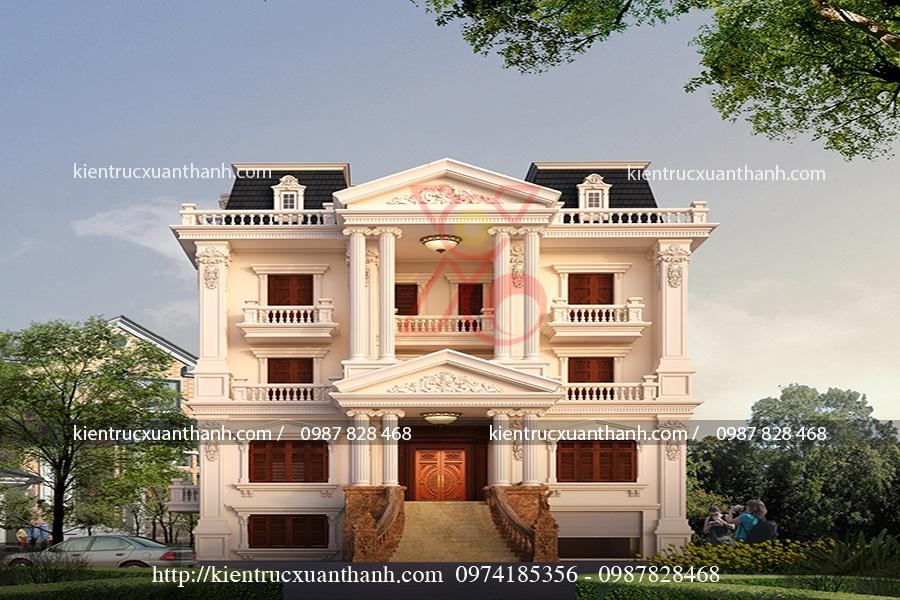 thiết kế mẫu biệt thự 4 tầng cổ điển tại Hà Nội