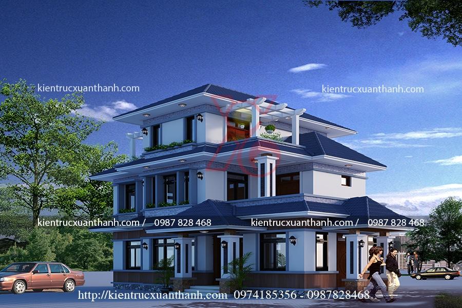 mẫu nhà 3 tầng mái thái 15x9m tại Hà Nội