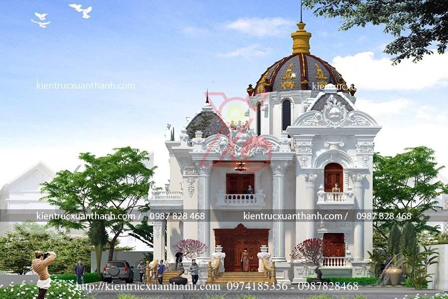 thiết kế biệt thự 2 tầng cổ điển