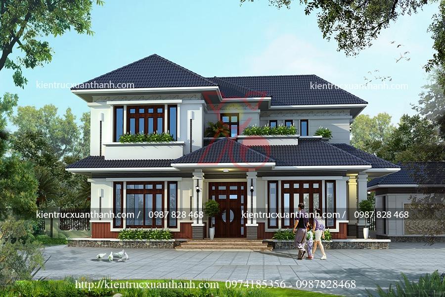 Mẫu thiết kế biệt thự 2 tầng đẹp BT18247