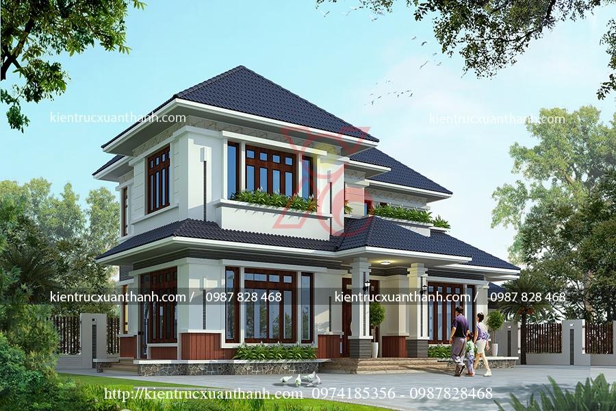 thiết kế nhà 2 tầng đẹp mái thái nông thôn