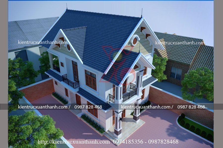 thiết kế nhà 2 tầng mái thái đẹp