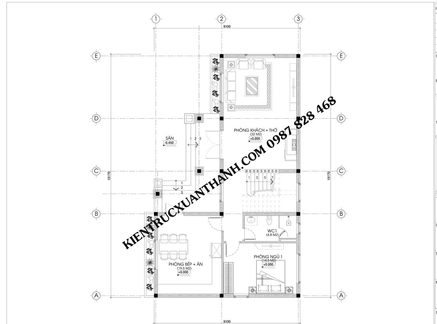 Mặt bằng mẫu biệt thự 2 tầng chữ L mái thái BT18264