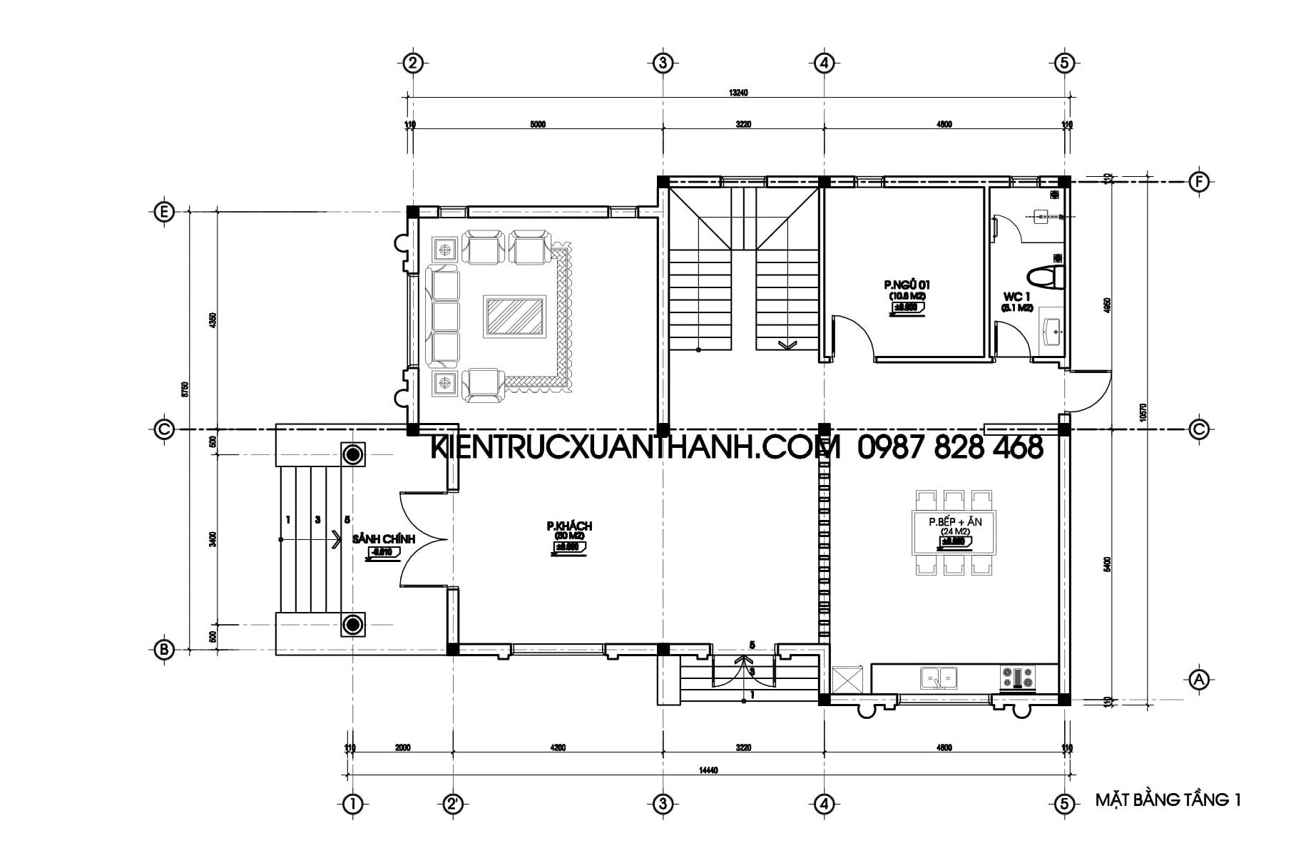 Mặt bằng nhà biệt thự 2 tầng đẹp BT18296