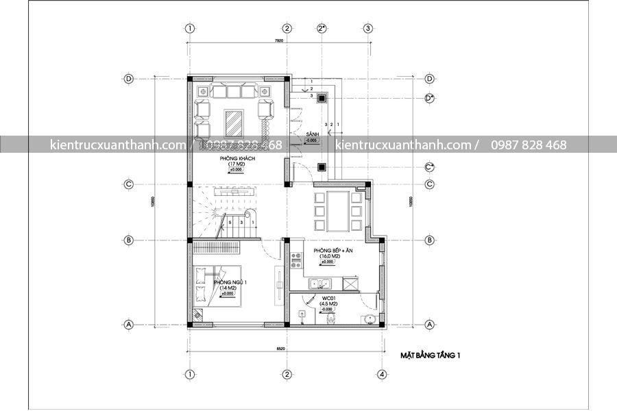 mặt bằng tư vấn biệt thự 2 tầng mái thái BT18264