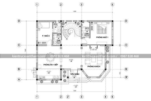 mặt bằng biệt thự 2 tầng BT18002