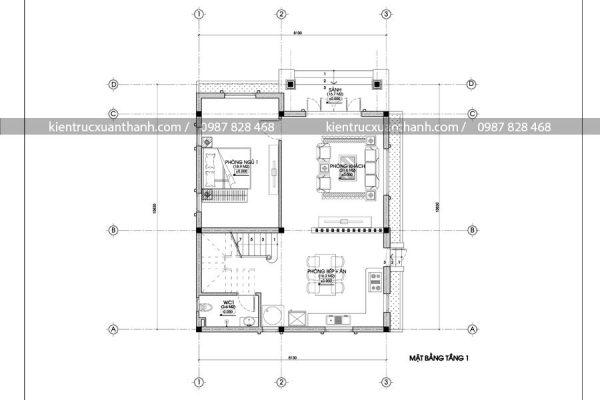 mặt bằng biệt thự 2 tầng mái thái BT18268