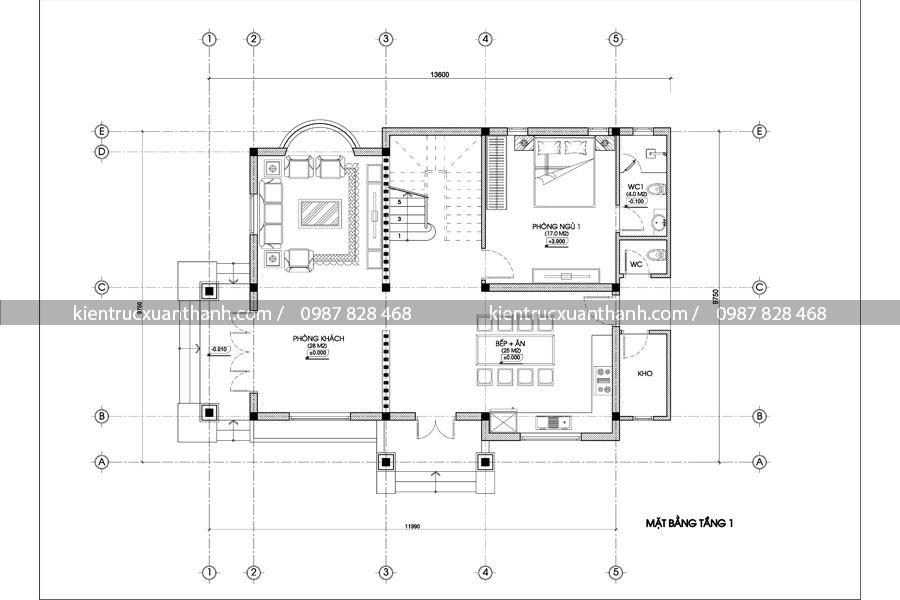 mặt bằng biệt thự 2 tầng tân cổ điển BT18265