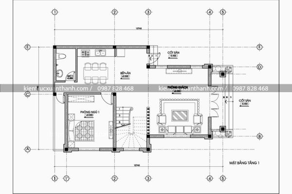 mặt bằng biệt thự 3 tầng đẹp BT18027
