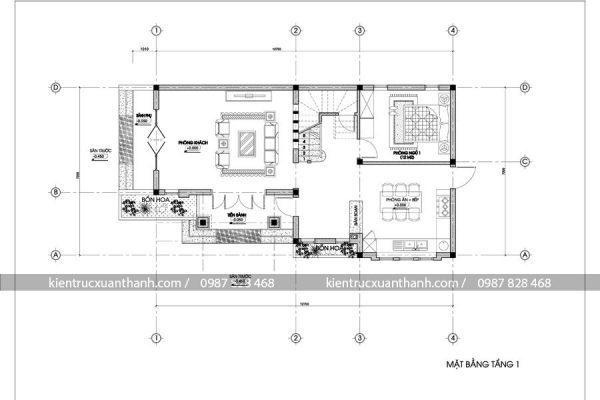 mặt bằng biệt thự đẹp 2 tầng BT18029