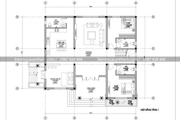 mặt bằng biệt thự 2 tầng BT18083
