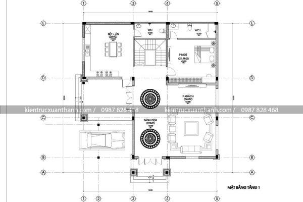 mặt bằng mẫu biệt thự 2 tầng BT18120