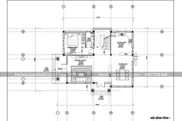 mặt bằng mẫu biệt thự 2 tầng BT18189