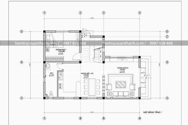 mặt bằng mẫu biệt thự 3 tầng BT18036