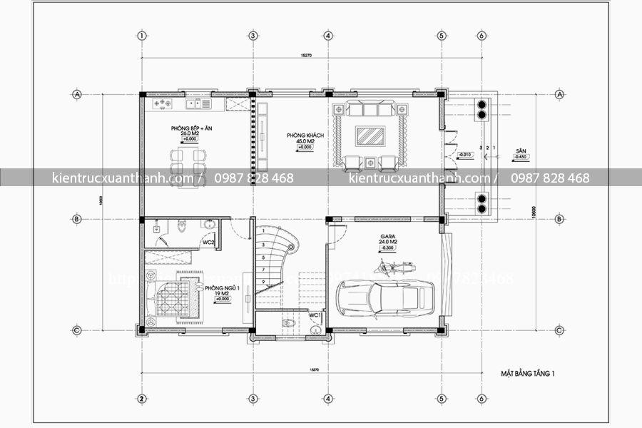 mặt bằng mẫu biệt thự 3 tầng BT18097