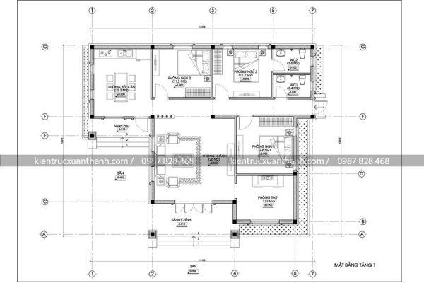 mặt bằng mẫu nhà 1 tầng BT18238