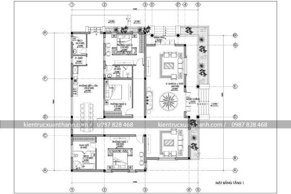 mặt bằng mẫu nhà 1 tầng đẹp BT18234