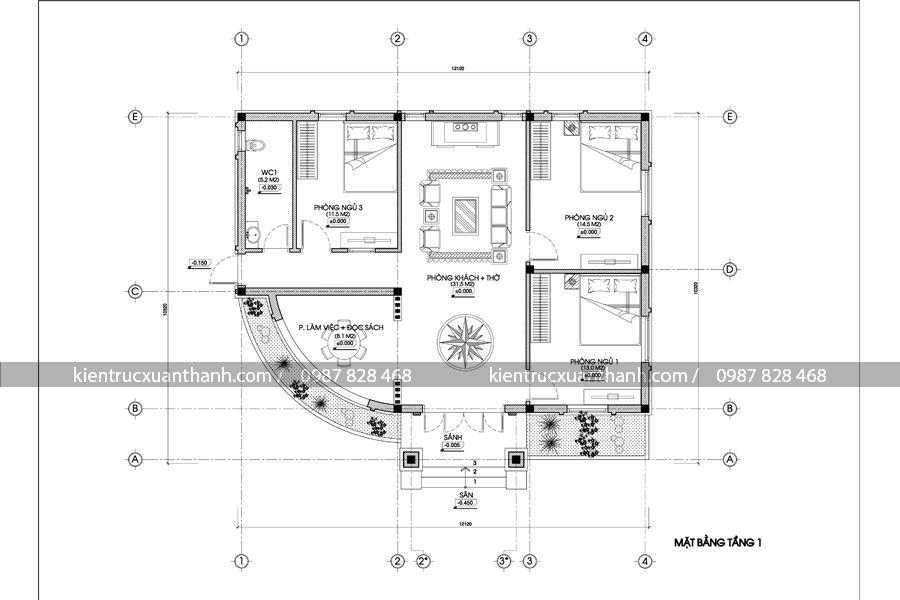 mặt bằng mẫu nhà 1 tầng nông thôn BT18241