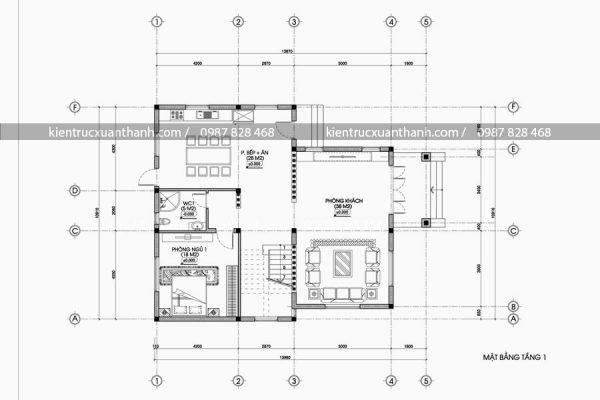 mặt bằng mẫu nhà 3 tầng hiện đại BT18446