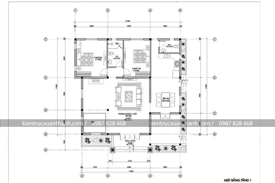 mặt bằng mẫu nhà biệt thự 1 tầng BT18141