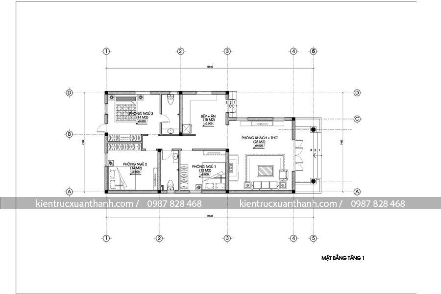 mặt bằng nhà biệt thự 1 tầng BT18209