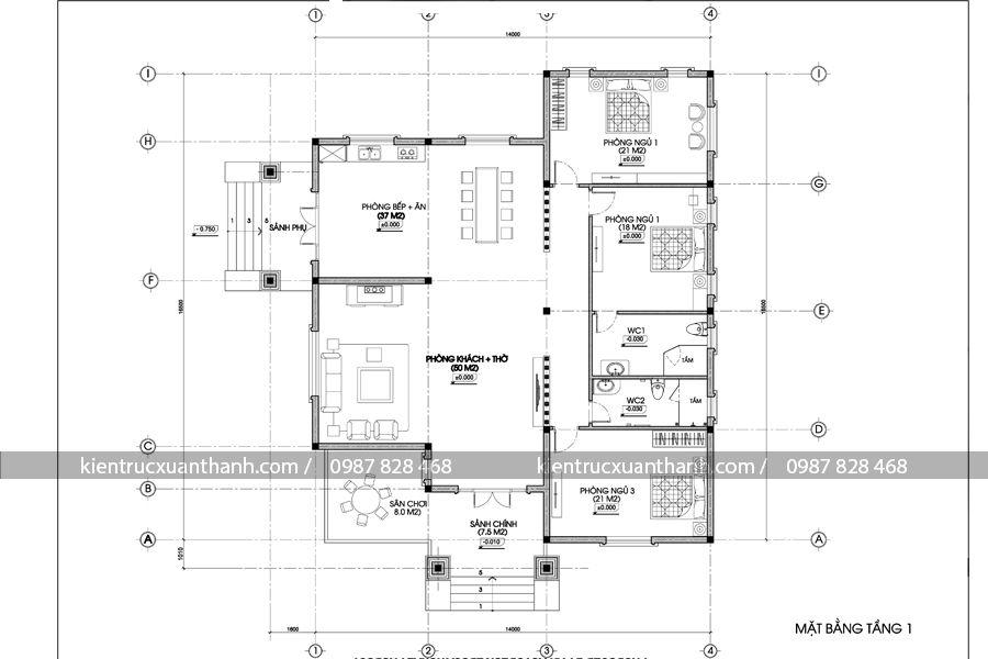mặt bàng mẫu nhà biệt thự 1 tầng BT18099