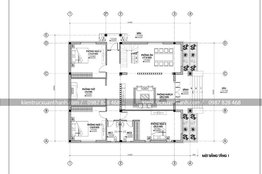 mặt bằng nhà 1 tầng đẹp BT18245