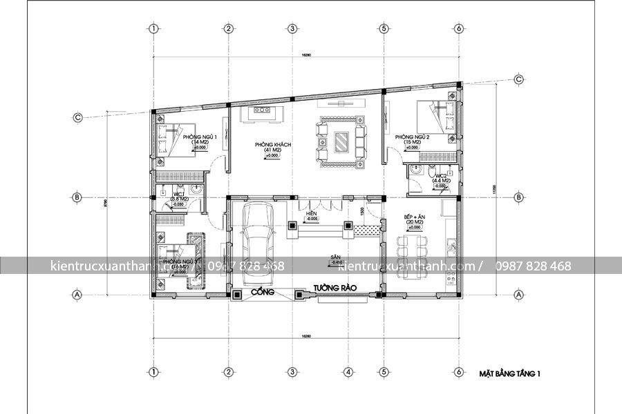 mặt bằng nhà 1 tầng kiểu Pháp BT18239