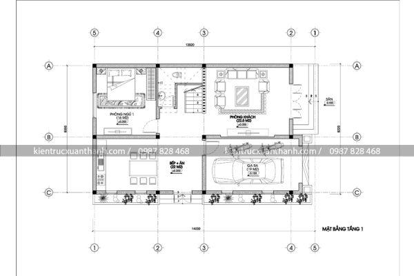 mặt bằng nhà 2 tầng hiện đại BT18259